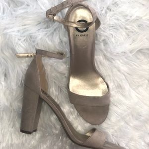 Guess Bamboo Ankle Strap Heels - Nude